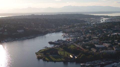 Seattle Aerial Gasworks Park, Fremont, Ballard, Olympic Mountains