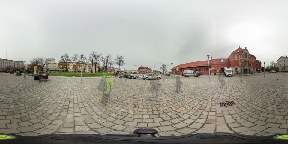 People Walk Into a Railway Yard Near Red Brick Building, Raiway Station, Crowd on a Vintage City Square, Houses, vr Video 360, Little Planet Video, Video For Virtual Reality, Time Lapse, Obsolete