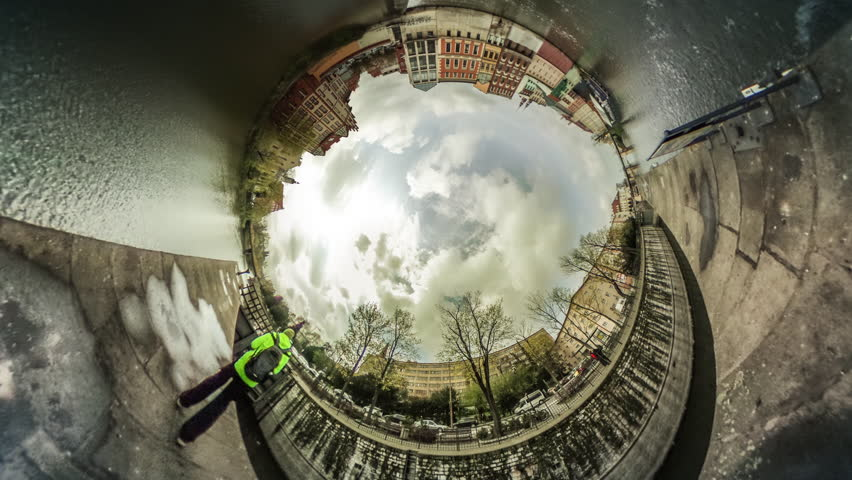 People, Cars Are Driven Through the River, Square Near the River, vr Video 360, Little Planet Video, Video For Virtual Reality, Time Lapse, Man in Lemon Yellow Sporty Jacket, Bridge, Rippling Water,