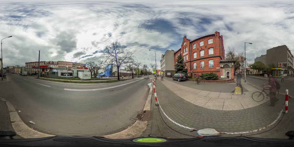 Panorama of Railroad Station, Train Station Brick Platform, Train is Passing Through Station, Roof of the Platform, Poles and Wires Above the Rails, Houses, vr Video 360, Little Planet Video, Video