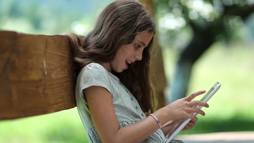 Girl With Tablet Computer Nice Stock Footage Video 100 Royalty