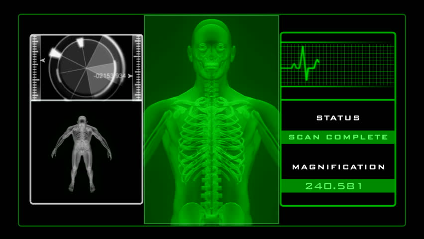 X-ray scanning man - green
