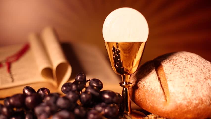 Holy Communion Bread, Wine Stock Footage Video 16801483 ...