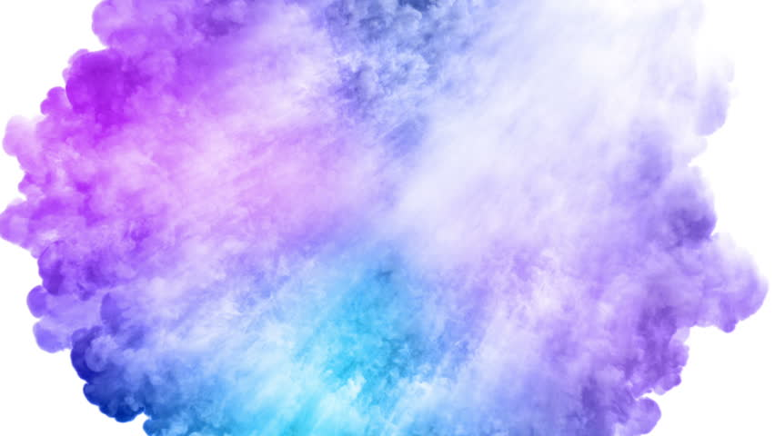 Colored smoke radial explosion on white (slow motion, with alpha matte, full hd)