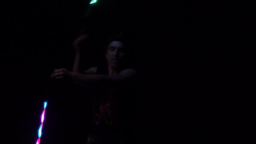 Juggling in the whole dark.Close up.Slow motion