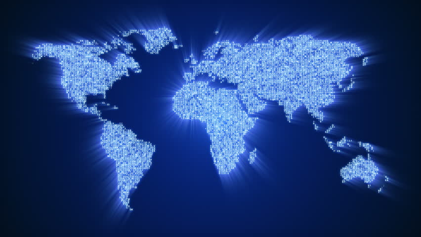 World map with a colorful blue background stock footage video numbers and symbols form the world map on dark blue background 4k resolution ultra sciox Image collections