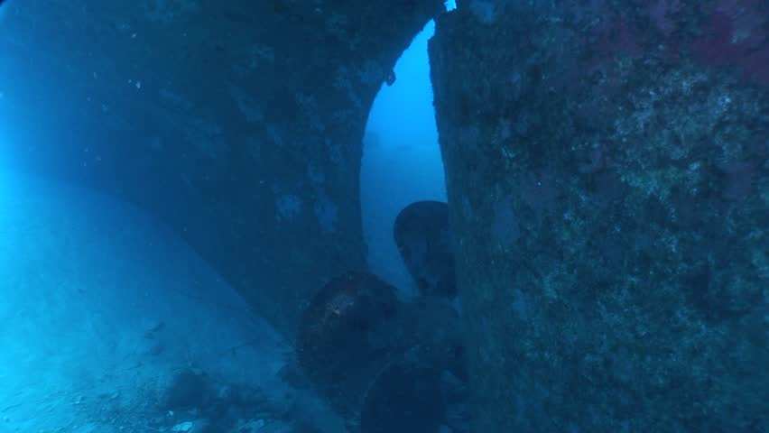 Divers exploring ship wrecks underwater   Shutterstock HD Video #16809307