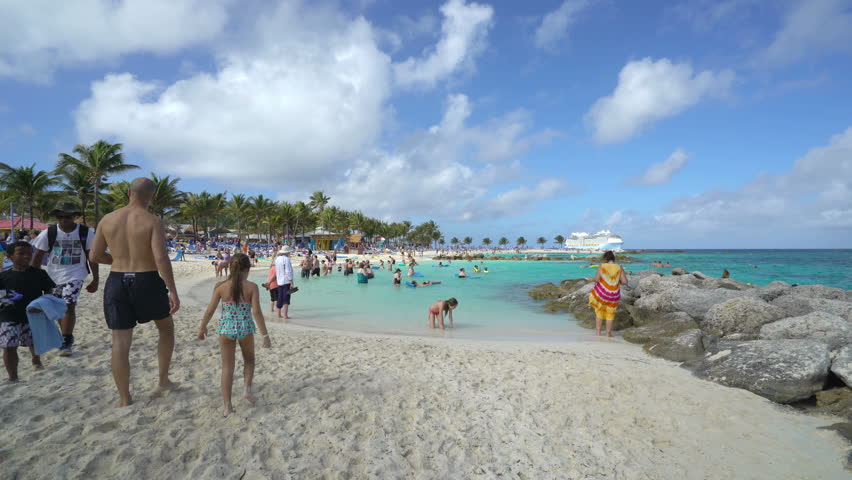 Tropical Sandy Beach In Coco Cay Bahamas December Stock - Coco cay weather