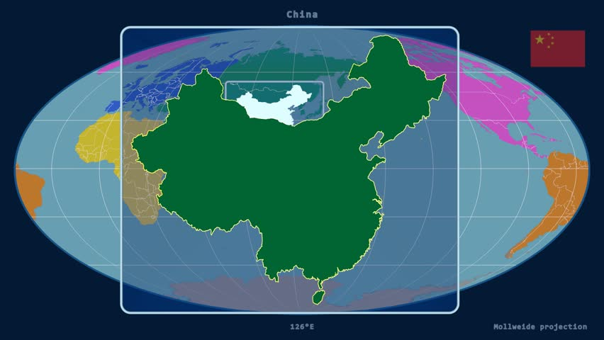 Stock video clip of zoomed in view of a china outline with 4k0008zoomed in view of a china outline with perspective lines against a global map of continents in the mollweide projection gumiabroncs Choice Image