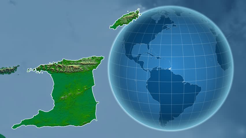 Trinidad And Tobago Shape Animated On The Elevation Map Of The Globe