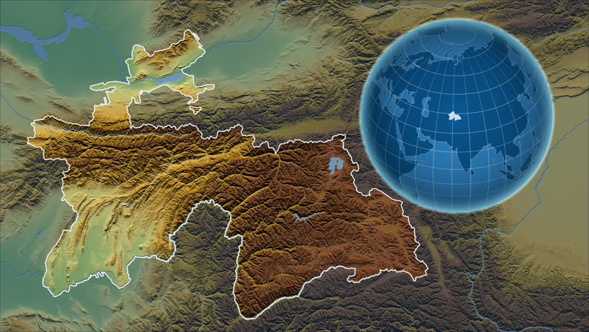 Zoomedin View Of A Tajikistan Outline With Perspective Lines
