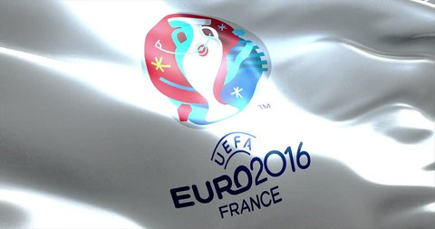 Official logo of the euro 2016 UEFA European Championship in France, flag waving in the wind, france circa June 2016