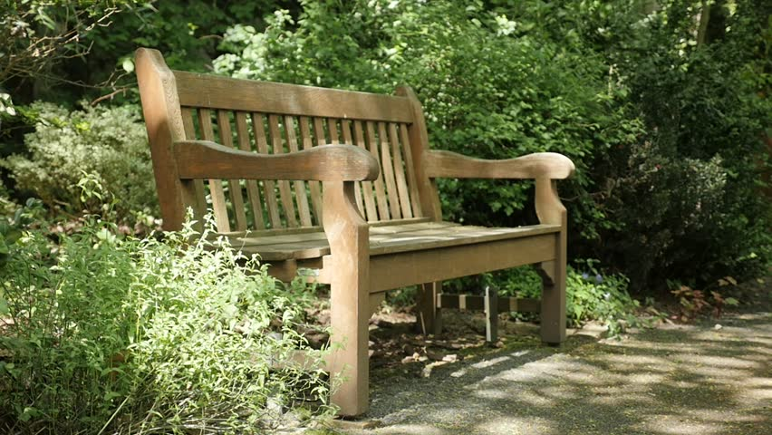 Video Bench Part - 19: Slow Motion Natural Environment And Wooden Bench In The Park 1920X1080  FullHD Video - Lonely Bench