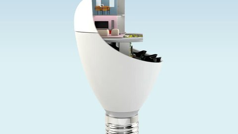 House appliances and furniture in  LED light bulb. Ecology life concept. 3D rendering animation.