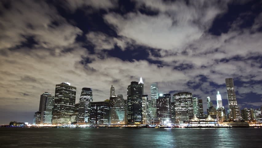 The New York City skyline and harbor timelapse