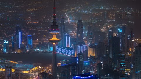 Top view of The Liberation Tower timelapse in Kuwait City illuminated at night. Kuwait, Middle East