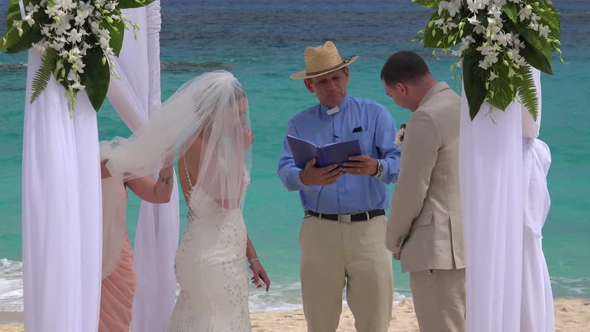 BERMUDA, - APRIL 27: Wedding ceremony at Bermuda public beach. April 27, 2016 in Bermuda