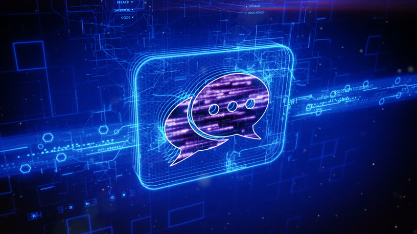 Abstract animation of messaging icon in digital cyberspace | Shutterstock HD Video #16982848