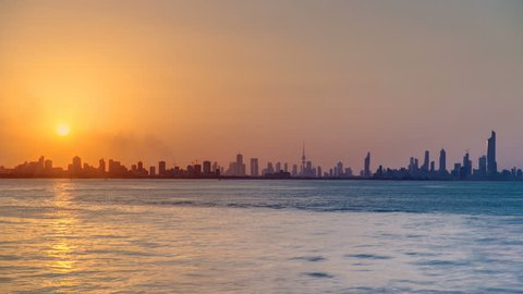 Kuwait cityscape during the sunset timelapse