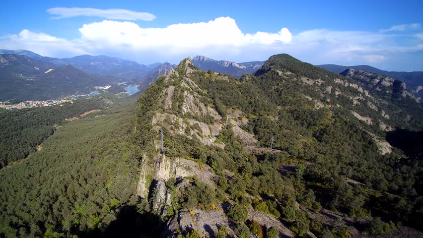 Aerial view: Crested mountains, Pyrenees, serra de Busa i Bastets #17049628