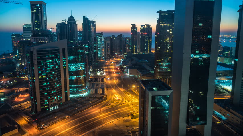 Doha, Qatar - February 2016: Time lapse of sunrise over downtown & central business district, Doha, Qatar, Middle East #17062108