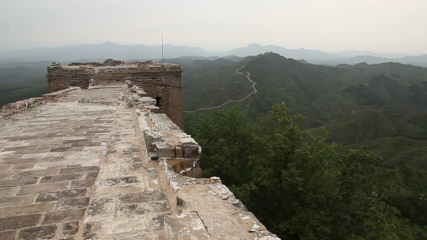 View of the Great Wall in China from a summit