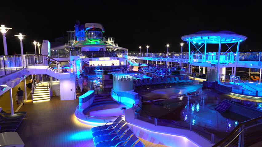 Stock Video Of Illuminating Cruise Ship Pool Deck At 17072638 Shutterstock