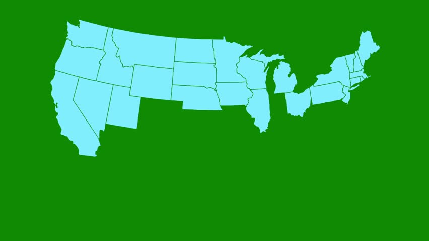 USA All States Showing Up on a Green Screen Background