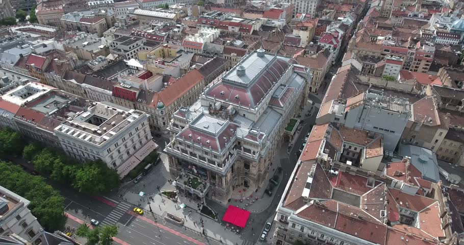 Aerial footage from a drone shows the Opera House in downtown Budapest, Hungary. -