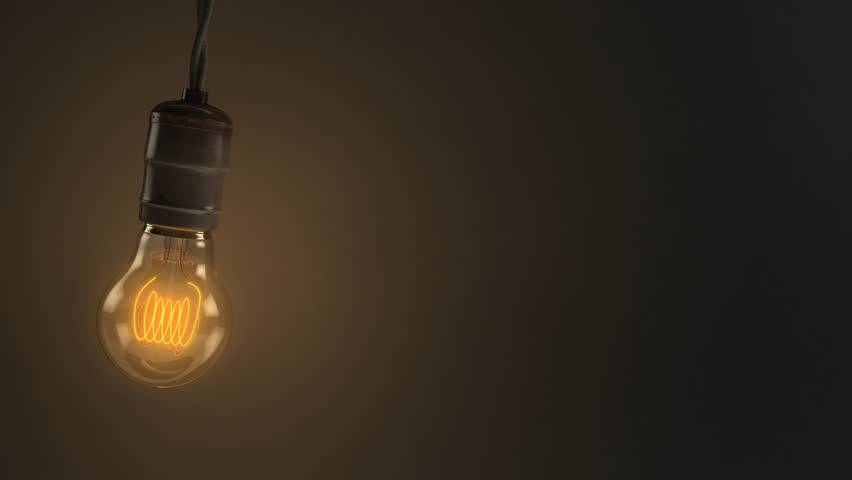 A 4K 3D animated loop of a single swinging vintage incandescent light bulb over a dark background.  8 seconds.