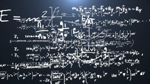 Math equations. Flight through numbers, formulas and math equations.