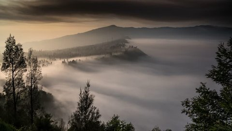 Timelapse of sea of clouds near Mount Bromo, Indonesia