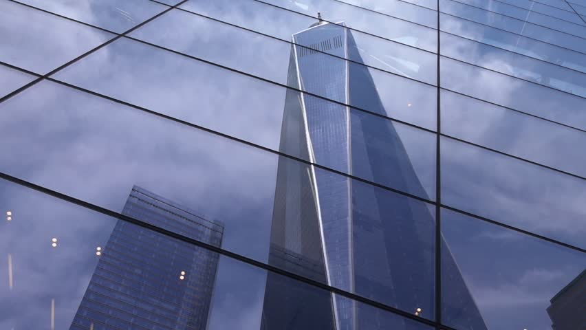 New world trade center  building in New York city and its reflection. 911 Memorial Plaza. One World Trade Center, Freedom Tower. Smooth movement