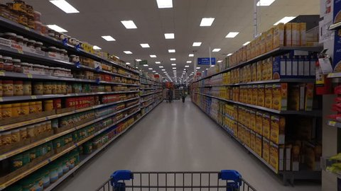 POINTE-CLAIRE, CANADA - CIRCA MAY 2016: Walmart Superstore Steadicam Flow (Cereal, Granola, Oatmeal, Snacks Etc.)