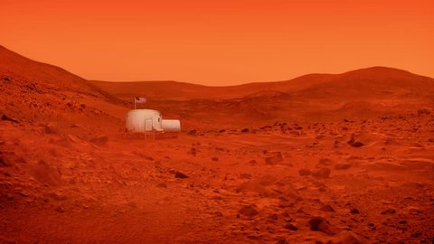 Space Base On Mars With American Flag