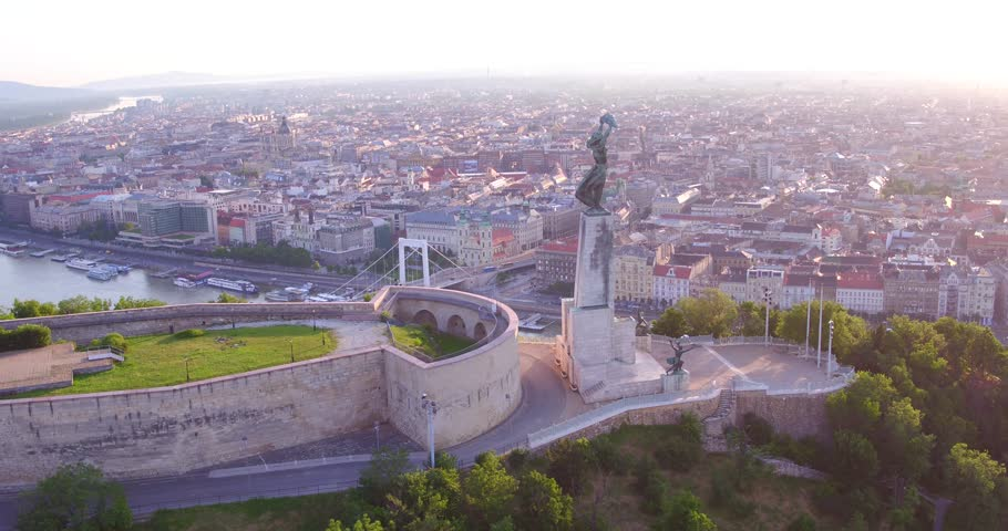 Aerial footage from a drone shows the Citadella fortress overlooking Budapest. - 4K stock video