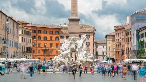 Italy, Rome Piazza Navona, the fountain of four rivers timelapse designed by G.L.Bernini.