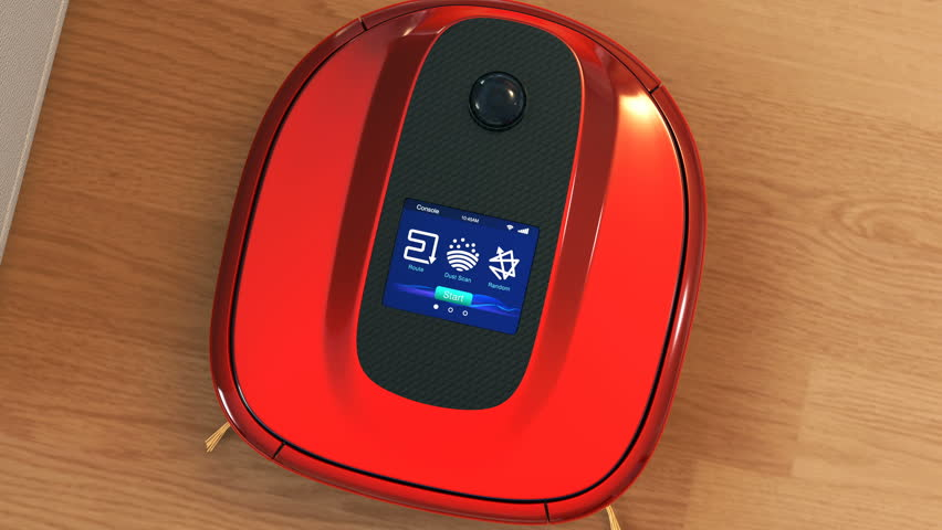 Description of robotic vacuum cleaner's touch screen interface. 3D rendering animation.