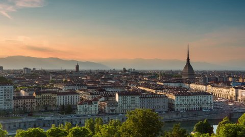 turin skyline timelapse from day to night aerial view