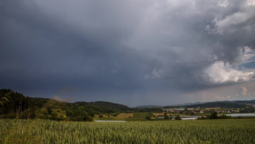 A big thunderstorm forming over fields in southern Germany, shot as a Time Lapse sequence