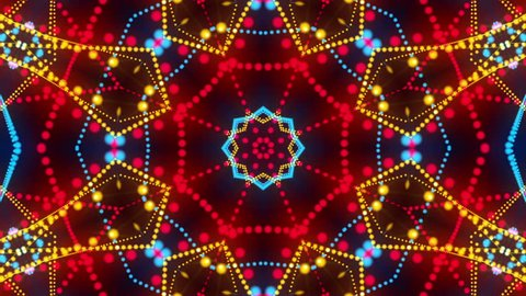 disco kaleidoscopes background with animated glowing neon colorful lines and geometric shapes for music videos, VJ, DJ, stage, LED screens, show, events, christmas videos, festivals, night clubs.