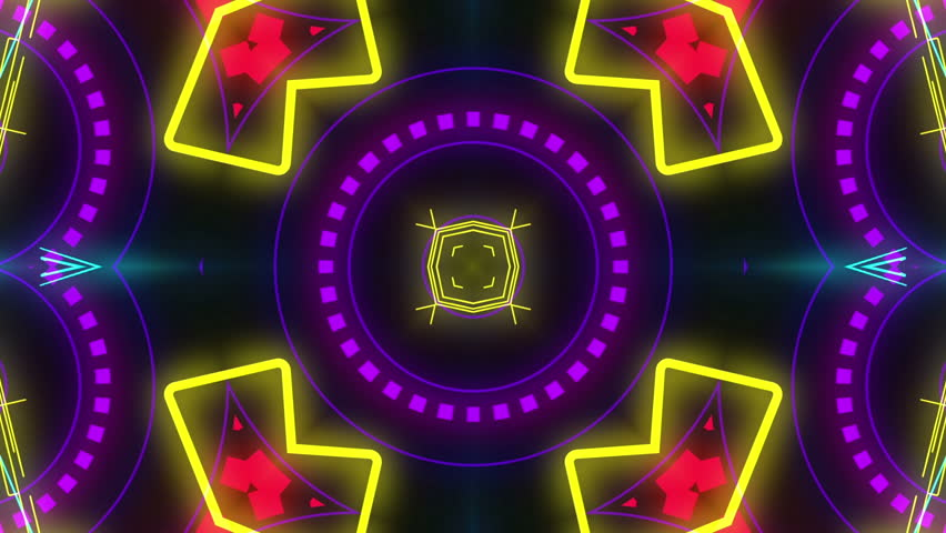 Disco Kaleidoscopes Background With Animated Glowing Neon Colorful ...