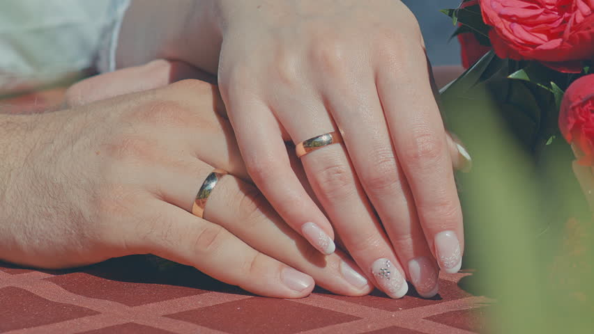 2 Hands With Wedding Rings Stock Footage Video 100 Royalty Free