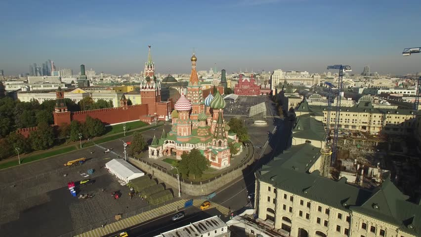 Saint Basil's Cathedral, Moscow Kremlin, Red square. City center, downtown. Unique aerial FPV Drone shot. High altitude flight. Morning. UltraHD 4K