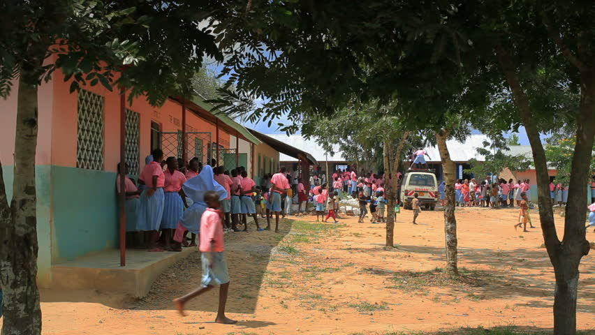 MOMBASSA, KENYA, AFRICA - CIRCA 2011: Students in class in a school in a village in Kenya