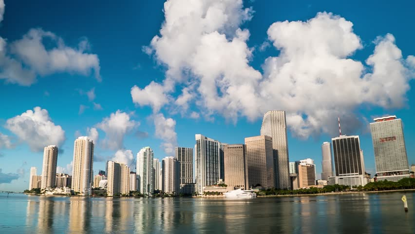 Timelapse shot in 4K of Downtown Miami Bay Skyline and Clouds in Miami , Florida | Shutterstock HD Video #17257078