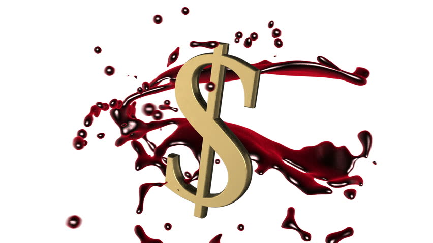 Looped animated background: 3d red-scarlet blood splash rotate around the symbol of  golden dollar on the white background. 4k. Seamless loop. Alpha matte.
