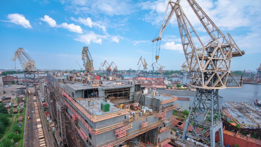 Construction of the ship in shipyard timelapse