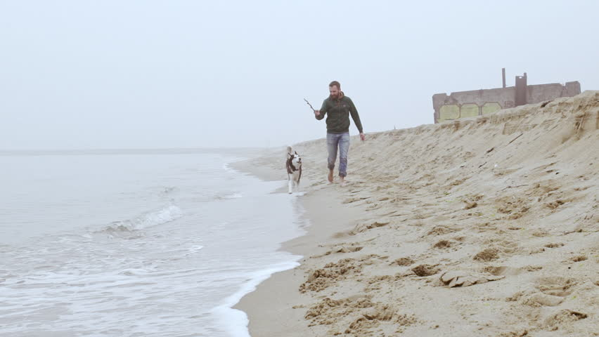 Handsome young man and his dog playing fetch at...