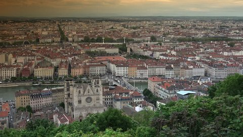 Aerial view of Lyon, France at sunset, ULTRA HD 4K,real time , zoom